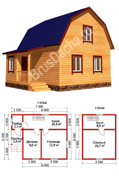 Строительство дома из бруса 8 на 6 с мансардой своими руками 83