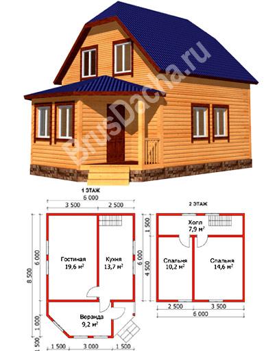 Каркасный дом 6х8 проект дома 33