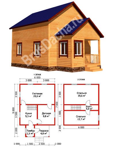 Каркасный дом 6х9 проект дома №45