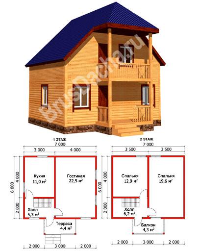 Каркасный дом 6х7 проект дома №48