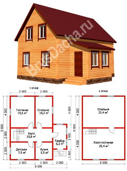 Каркасный дом в 1 5 этажа с крыльцом