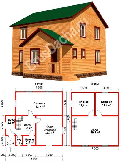 проекты 2 этажных домов 7х8 красотки начинают